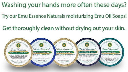 Washing your hands more often these days? Try our Emu Essence Naturals moisturizing Emu Oil Soaps! Get thoroughly clean with drying out your skin!